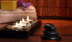 stones, candles and towels