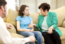 young teen having a session about her depression